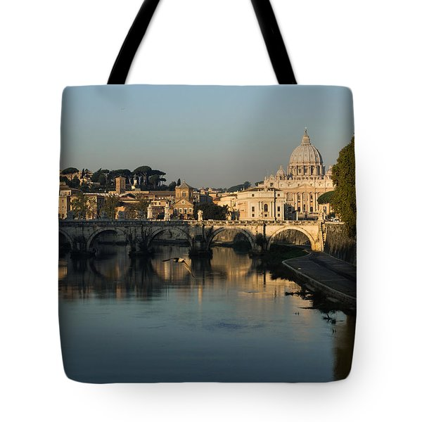 Rome - Iconic View Of Saint Peter's Basilica Reflecting In Tiber River Tote Bag