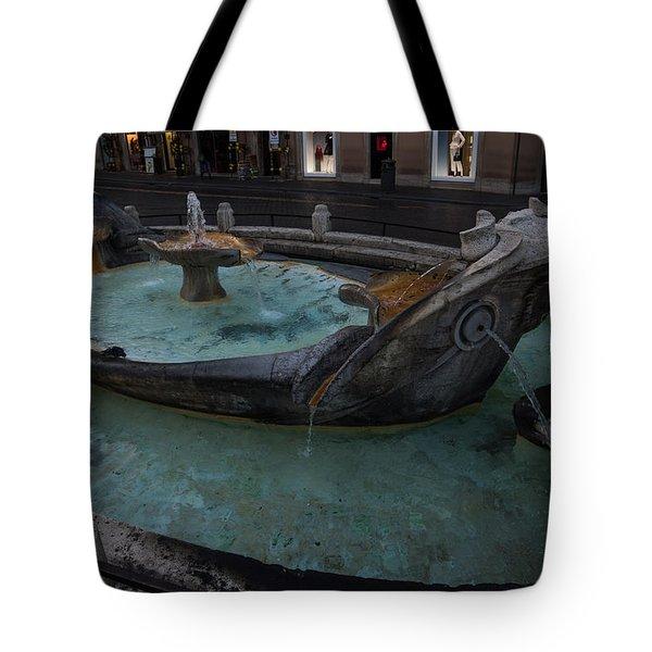 Rome's Fabulous Fountains - Fontana Della Barcaccia At The Spanish Steps  Tote Bag
