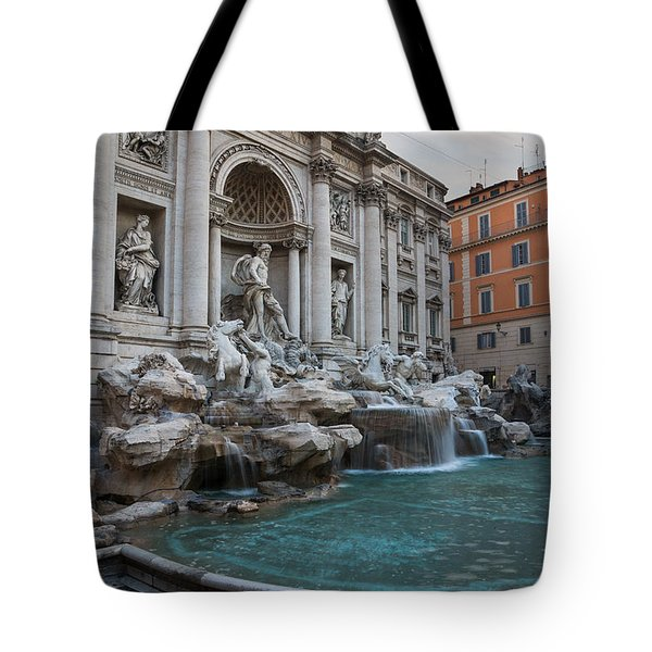 Rome's Fabulous Fountains - Trevi Fountain - No Tourists Tote Bag by Georgia Mizuleva
