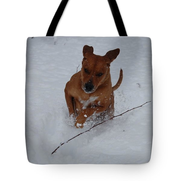 Tote Bag featuring the photograph Romp In The Snow by Mim White