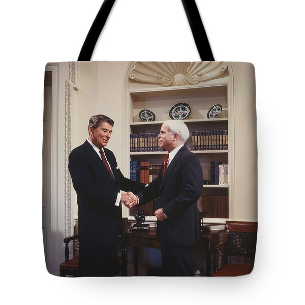 Ronald Reagan And John Mccain Tote Bag by Carol Highsmith