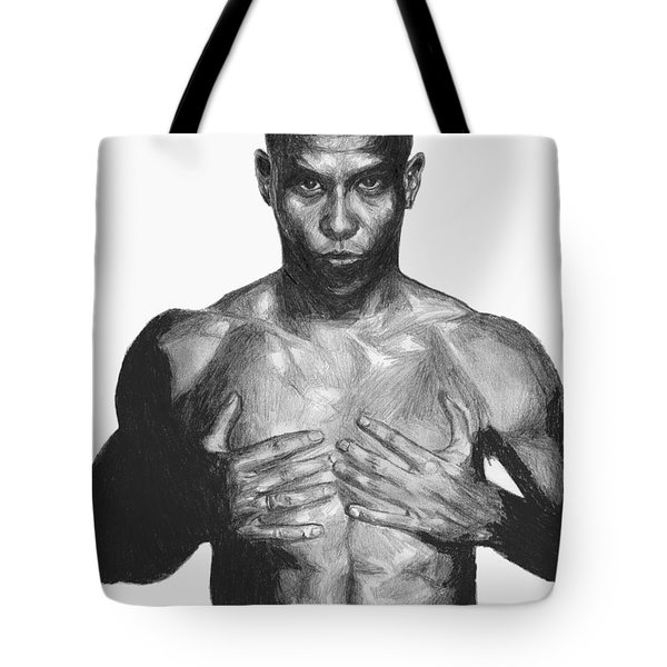 Tote Bag featuring the drawing Ronaldo by Tamir Barkan