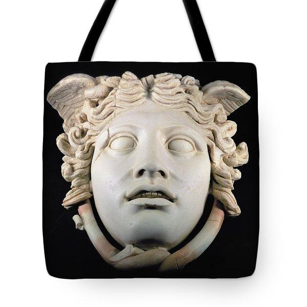 Rondanini Medusa, Copy Of A 5th Century Bc Greek Marble Original, Roman Plaster Tote Bag