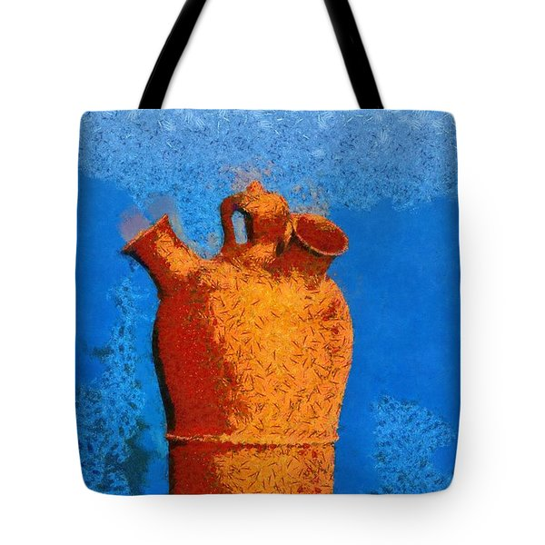 Roof Pottery In Sifnos Island Tote Bag by George Atsametakis
