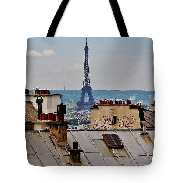 Rooftops Of Paris And Eiffel Tower Tote Bag by Marilyn Dunlap