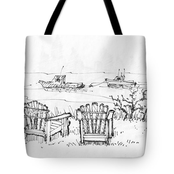 Tote Bag featuring the drawing Room For Two Monhegan Island 1993 by Richard Wambach