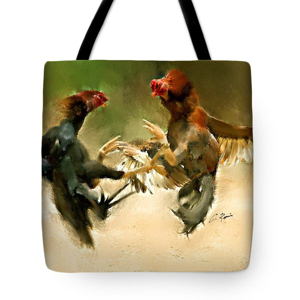 Rooster Fight Hd Tote Bag