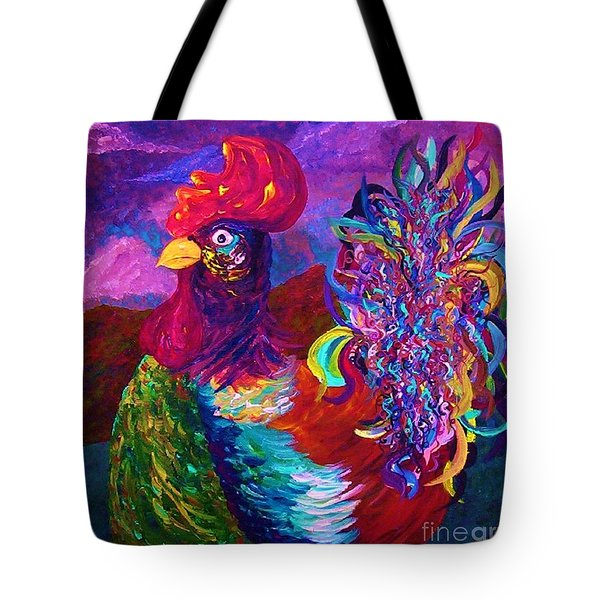 Tote Bag featuring the painting Rooster On The Horizon by Eloise Schneider