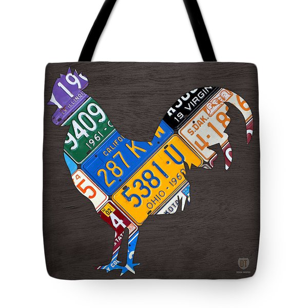 Rooster Recycled License Plate Art On Gray Wood Tote Bag
