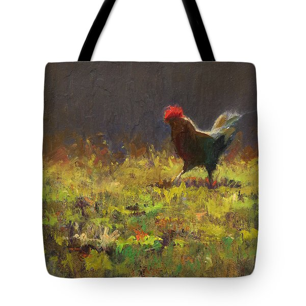 Rooster Strut Tote Bag by Karen Whitworth