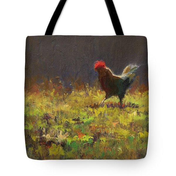 Rooster Strut - Impressionistic Chicken Landscape - Abstract Farm Art - Chicken Art - Farm Decor Tote Bag