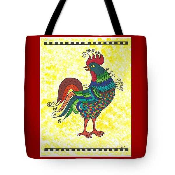 Tote Bag featuring the painting Rooster Strutting His Stuff by Susie Weber