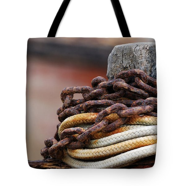 Tote Bag featuring the photograph Rope And Chain by Wendy Wilton