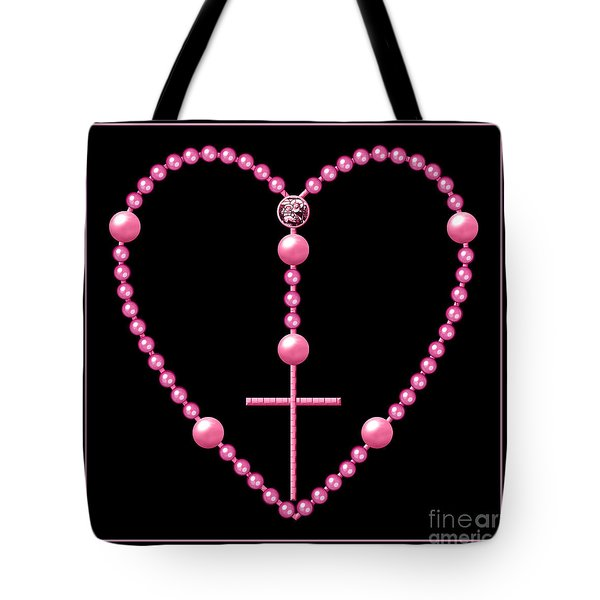Rosary With Pink And Purple Beads Tote Bag by Rose Santuci-Sofranko