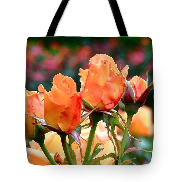 Rose Bunch Tote Bag by Rona Black
