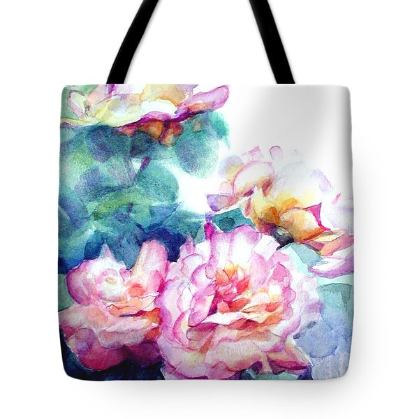 Tote Bag featuring the painting Pink Rose Bush by Greta Corens