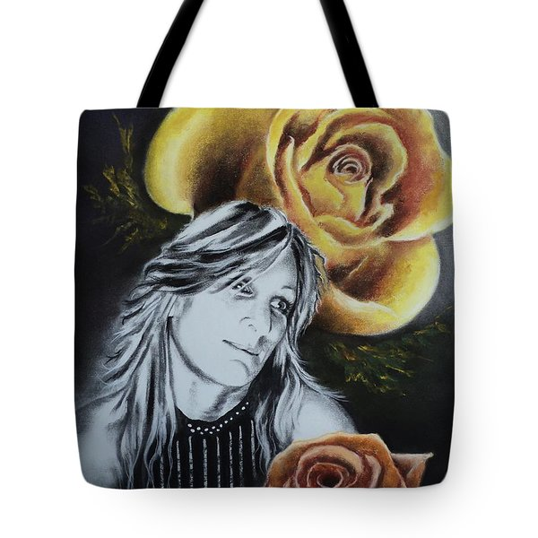 Tote Bag featuring the drawing Rose by Carla Carson