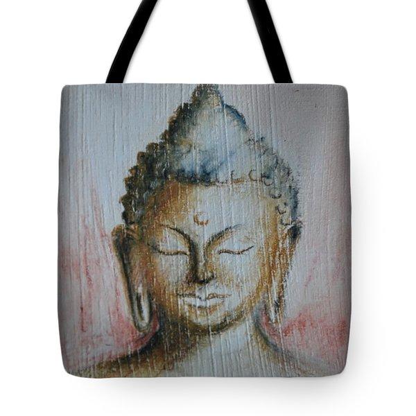 Tote Bag featuring the drawing Rose Chakra Buddha Miniature by Lynn Hughes