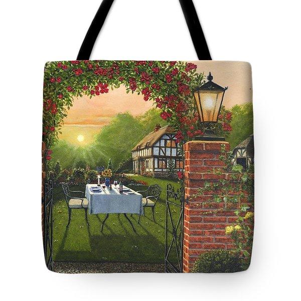 Rose Cottage - Dinner For Two Tote Bag by Richard Harpum