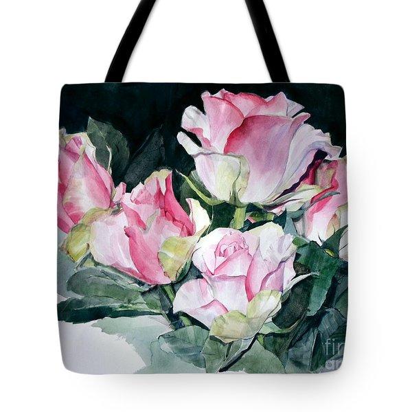 Watercolor Of A Pink Rose Bouquet Celebrating Ezio Pinza Tote Bag