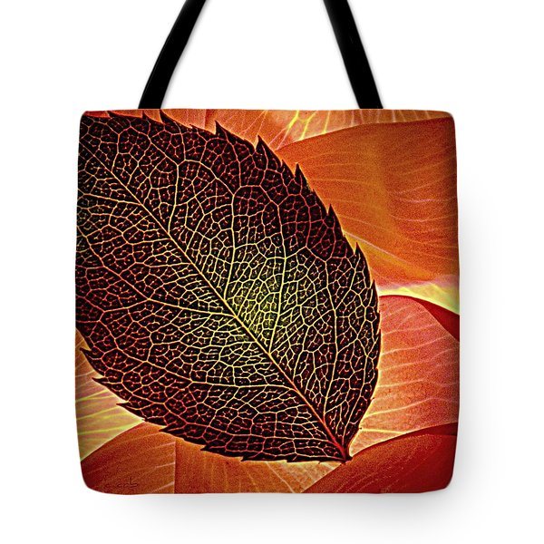 Rose Foliage On Rose Petals Tote Bag by Chris Berry