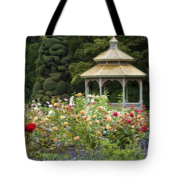 Tote Bag featuring the photograph Rose Garden Gazebo by Sonya Lang