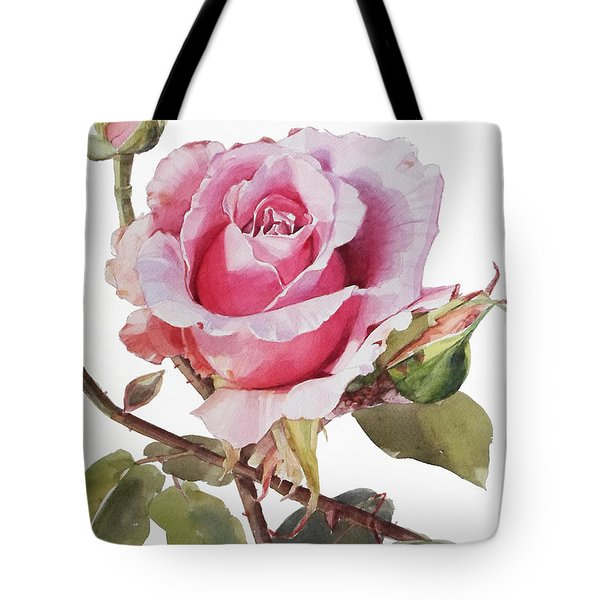 Watercolor Of Pink Rose Grace Tote Bag