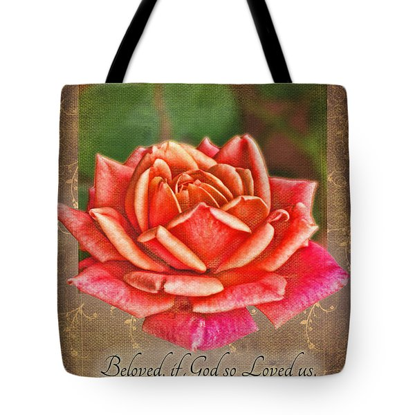 Rose Greeting Card With Verse Tote Bag by Debbie Portwood
