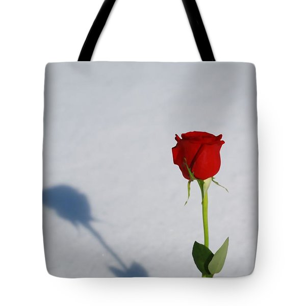 Rose In Snow Spring Approaches Tote Bag
