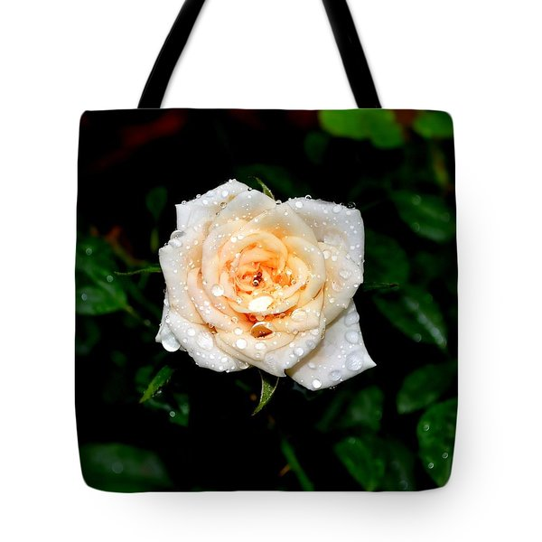 Tote Bag featuring the photograph Rose In The Rain by Deena Stoddard