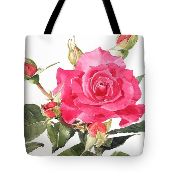 Watercolor Red Rose Margaret Tote Bag