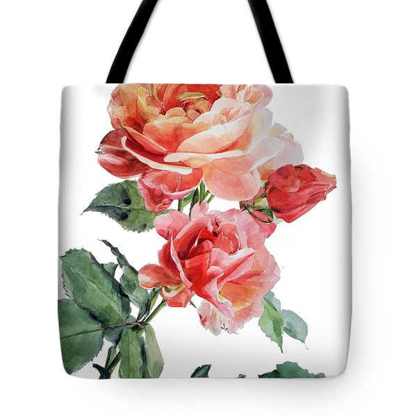Watercolor Of Red Roses On A Stem I Call Rose Maurice Corens Tote Bag
