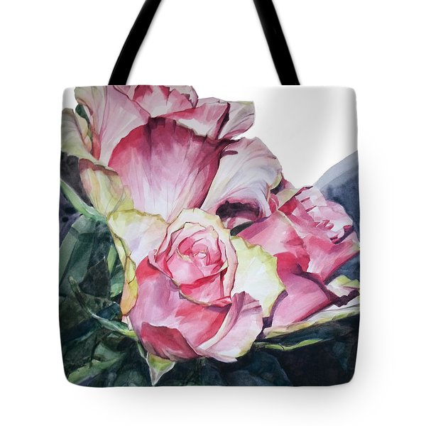 Watercolor Of A Bouquet Of Pink Roses I Call Rose Michelangelo Tote Bag