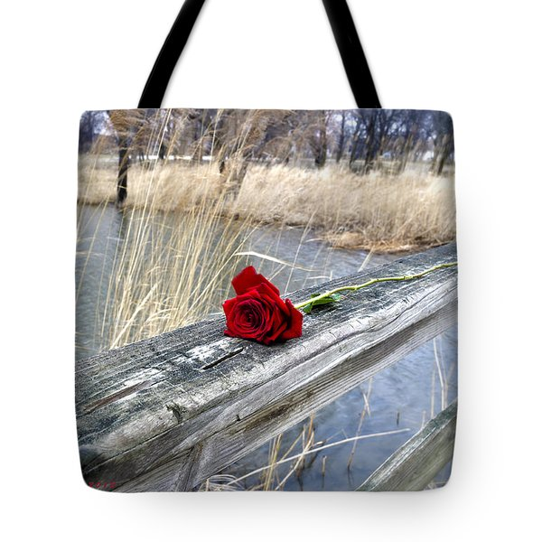 Tote Bag featuring the photograph Rose On A Bridge by Verana Stark