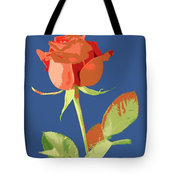 Rose On Blue Tote Bag by Mauro Celotti