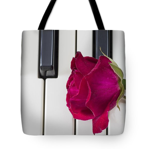Rose Over Piano Keys Tote Bag