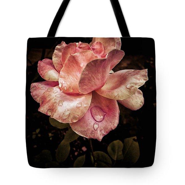 Rose Petals With Raindrops Tote Bag