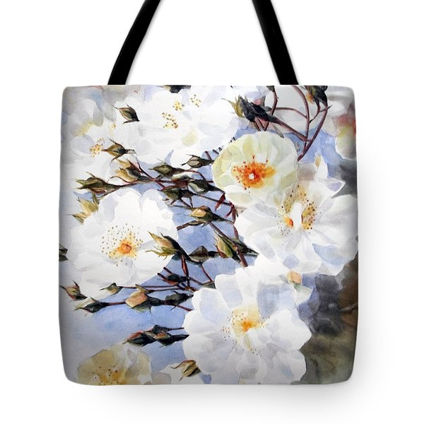 Wartercolor Of White Roses On A Branch I Call Rose Tchaikovsky Tote Bag