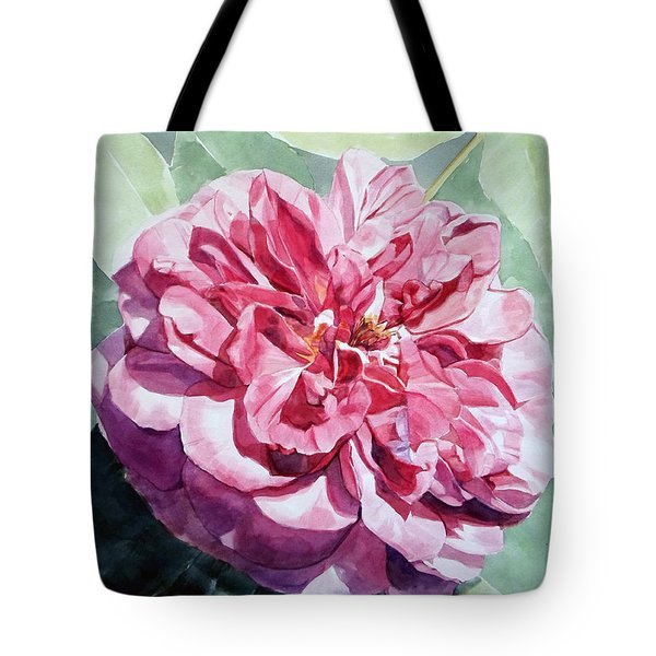 Watercolor Of A Pink Rose In Full Bloom Dedicated To Van Gogh Tote Bag