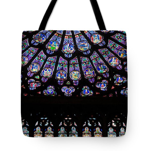 Rose Window . Famous Stained Glass Window Inside Notre Dame Cathedral. Paris Tote Bag