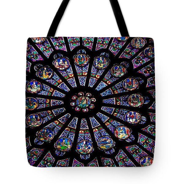 Rose Window .famous Stained Glass Window Inside Notre Dame Cathedral. Paris Tote Bag