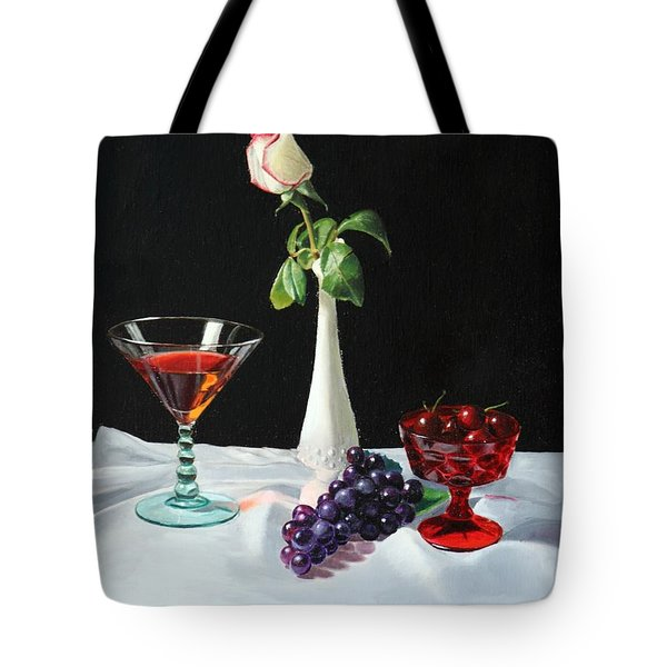 Rose Wine And Fruit Tote Bag