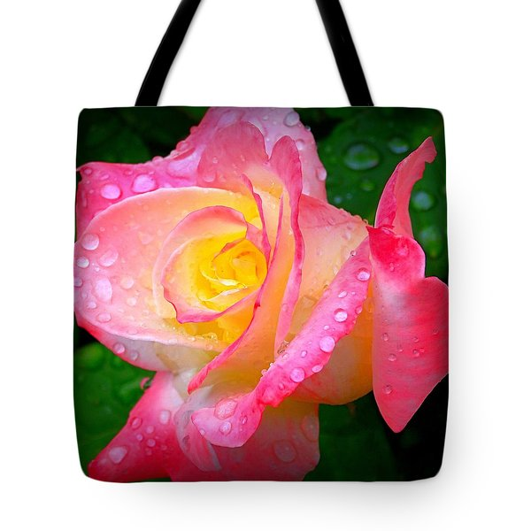 Rose With Water Droplets  Tote Bag