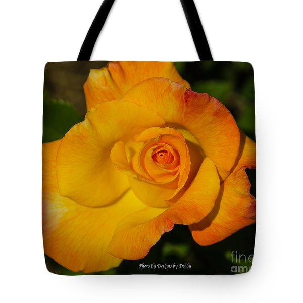Tote Bag featuring the photograph Rose Yellow Red by Debby Pueschel