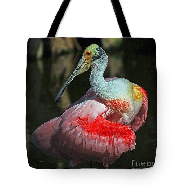 Roseate Preening Tote Bag by Larry Nieland