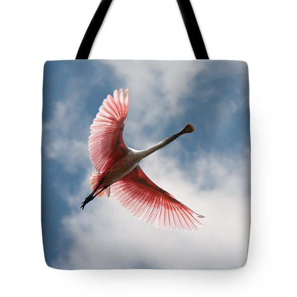 Tote Bag featuring the photograph Roseate Soaring by Paul Rebmann