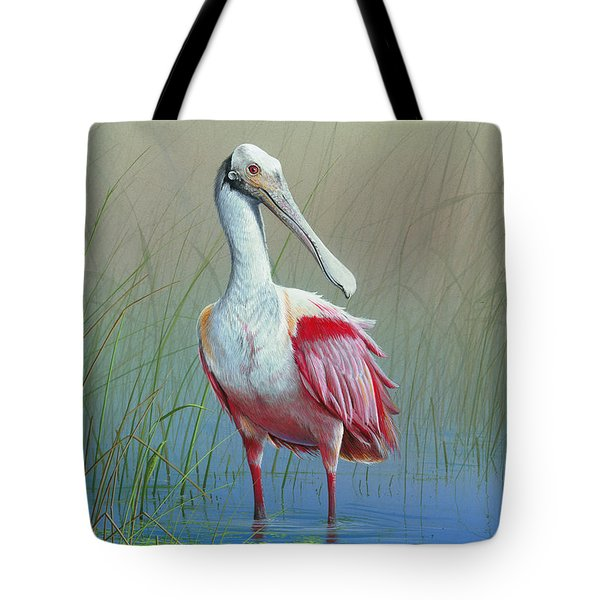 Roseate Spoonbill Tote Bag by Mike Brown