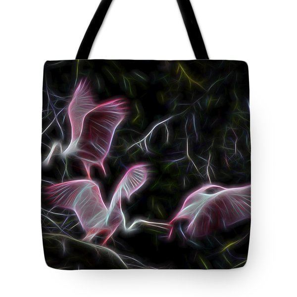 Tote Bag featuring the digital art Roseate Spoonbills 1 by William Horden