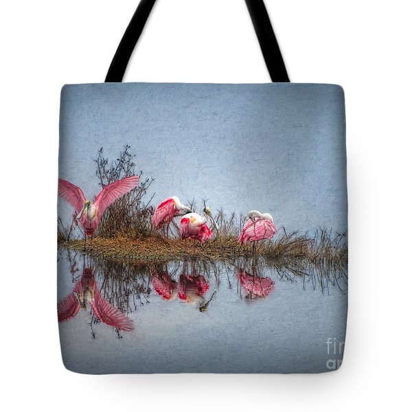 Roseate Spoonbills At Rest Tote Bag