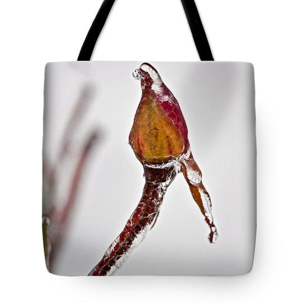 Rosebud Frozen In Ice Art Prints Tote Bag